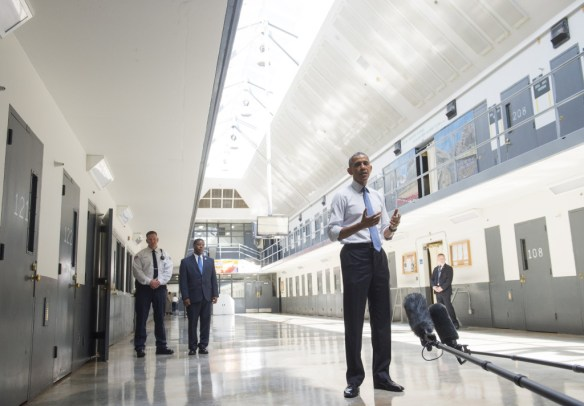 US President Barack Obama speaks as he tours the El Reno Federal Correctional Institution in El Reno, Oklahoma, July 16, 2015. Obama is the first sitting US President to visit a federal prison, in a push to reform one of the most expensive and crowded prison systems in the world.  (Photo credit:SAUL LOEB/AFP/Getty Images)