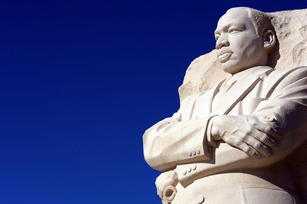 The Martin Luther King, Jr sculpture is seen at the MLK Memorial December 1, 2011 in Washington, DC. (KAREN BLEIER/AFP/Getty Images)