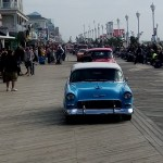 Parade of cars on the boardwalk