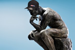 thinking man with amsoil hat