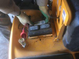 Remove battery before lawnmower storage