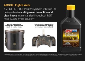 AMSOIL INTERCEPTOR fights wear and protect two stroke power valves