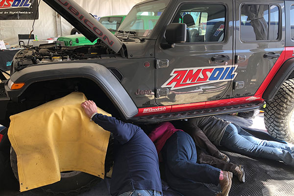 Fixing Jeep in the BFGoodrich Garage.