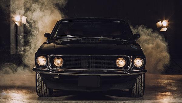 Black muscle car.