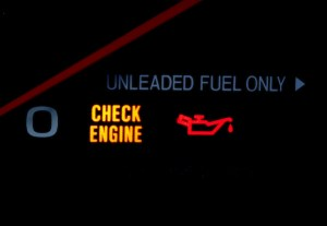 A check engine light can mean low oil pressure.