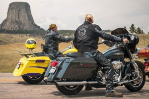 Motorcyclists sightseeing