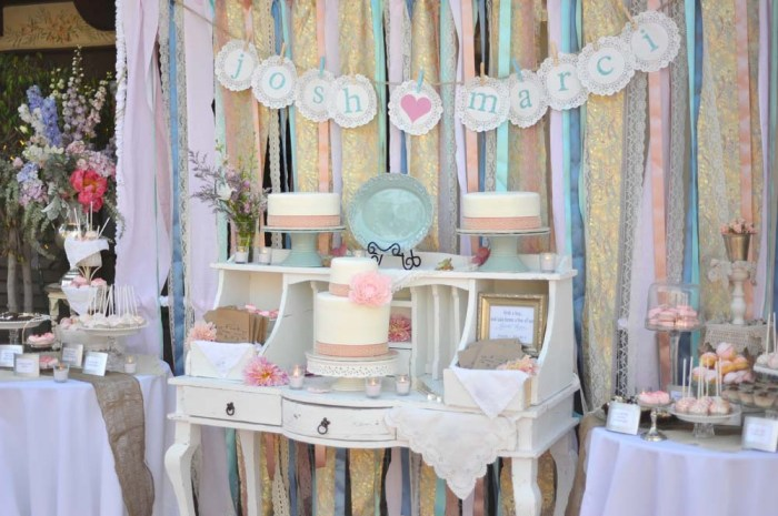 The Jaw Dropping Vintage Guest Dessert Table Feature From Blair Britt Events Im Back Here Today With Blairs How To Of That Beautiful Ribbon Backdrop