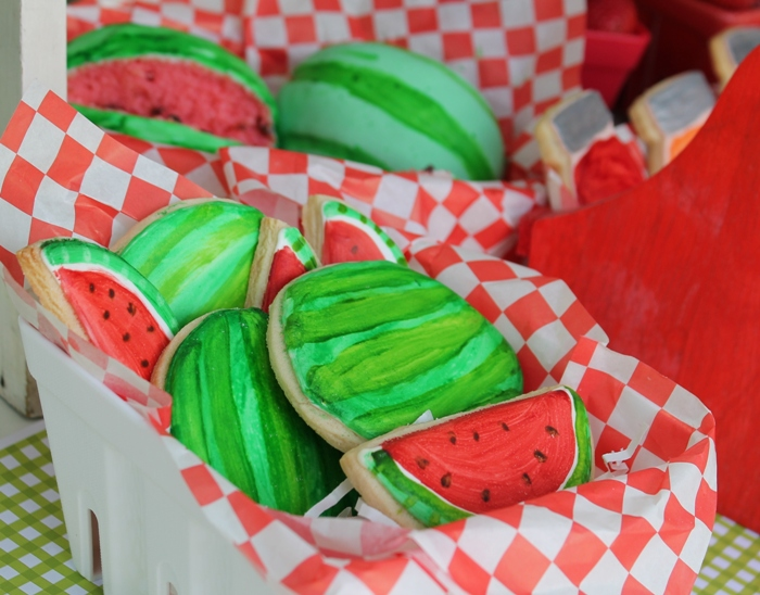Watermelon Shaped Sugar Cookies