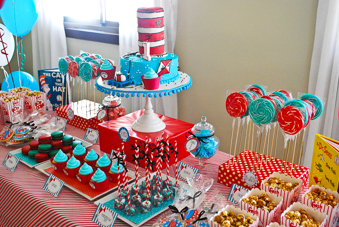 Cat In the Hat Inspired Dessert Table