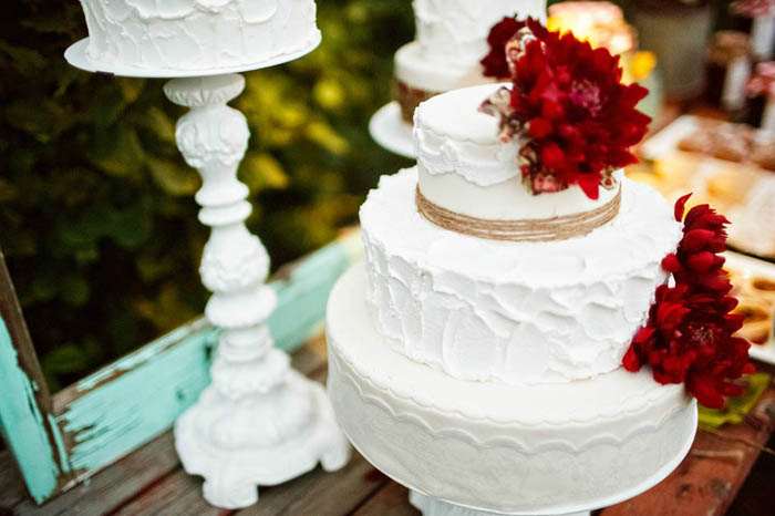 Beautiful White Cake with Red Flowers