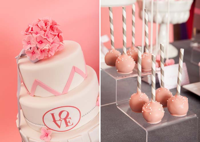 Cake with Chevron Pattern and cake pops