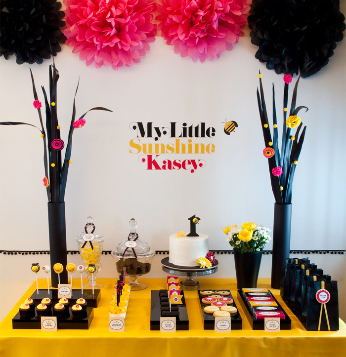 My Little Sunshine Yellow Black and Hot Pink Birthday Party