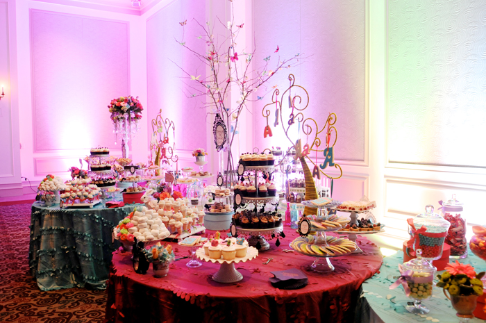 Alice in Wonderland inspired dessert table for Bat Mitzvah