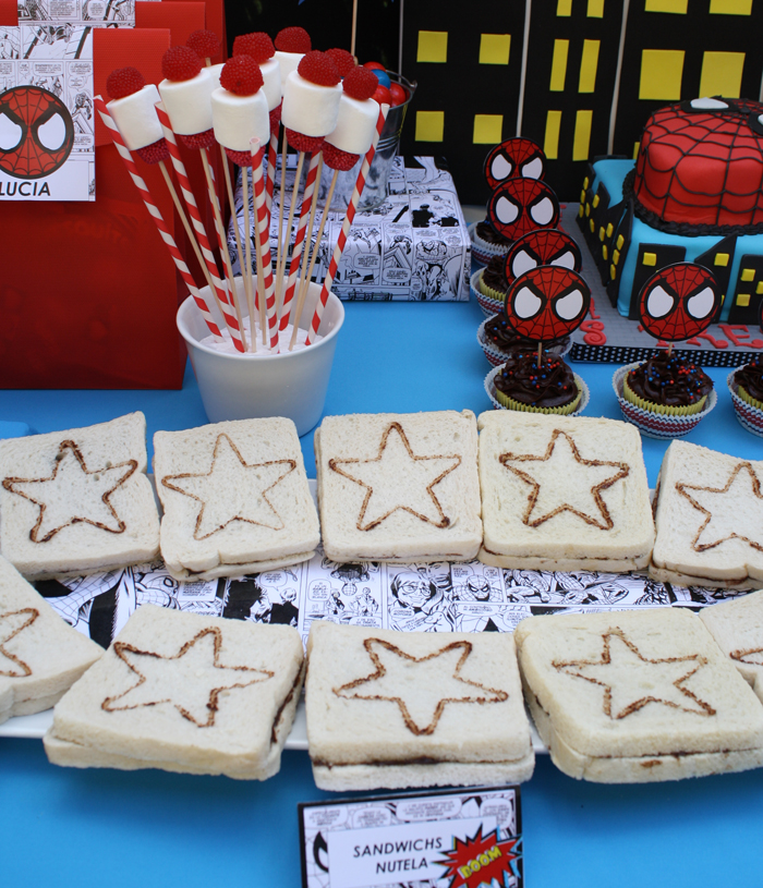Superhero inspired birthday party - Star sandwiches
