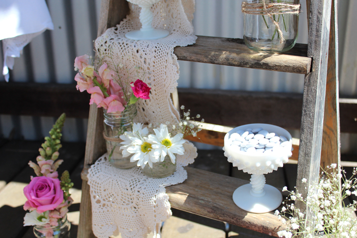 Rustic Vingtage Engagement Party Dessert Table props and accent pieces