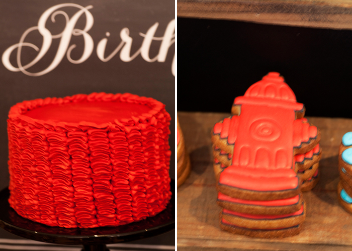 Vintage Firetruck Inspired Dessert Table Ribbon cake and fire hydrant cookies