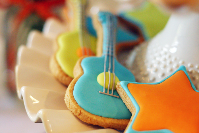 Guitar shaped sugar cookies