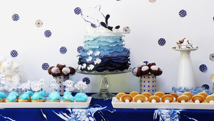 Under Water Dessert Table Blue Ombre Cake