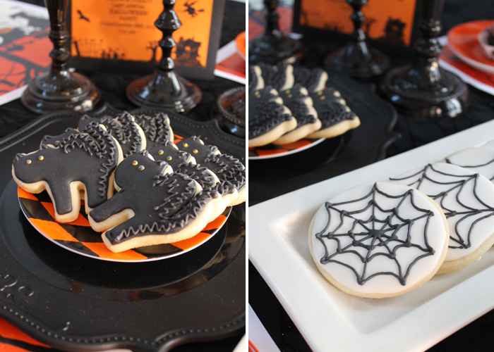 Halloween Party Ideas Black Cat Cookies and Spiderweb Cookies