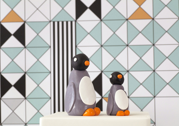 Mod turquoise and orange penguin dessert table