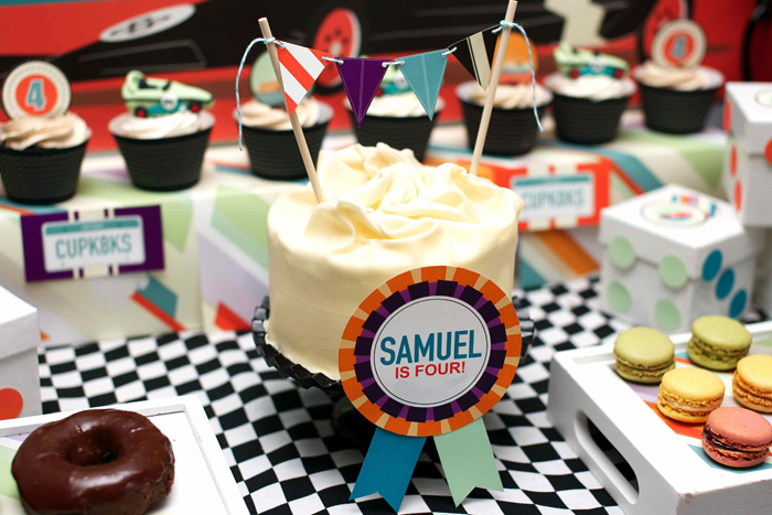 Vintage Race Car Birthday Party Dessert Table Cake 1