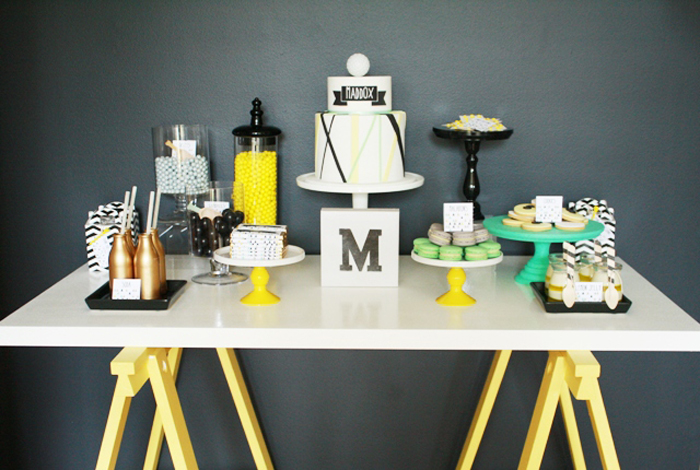Golf inspired party ideas Black Yellow and Green Dessert Table