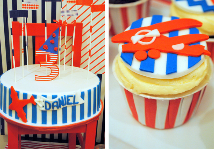 Vintage Airplane Dessert Table for Boys with Chevron Pattern