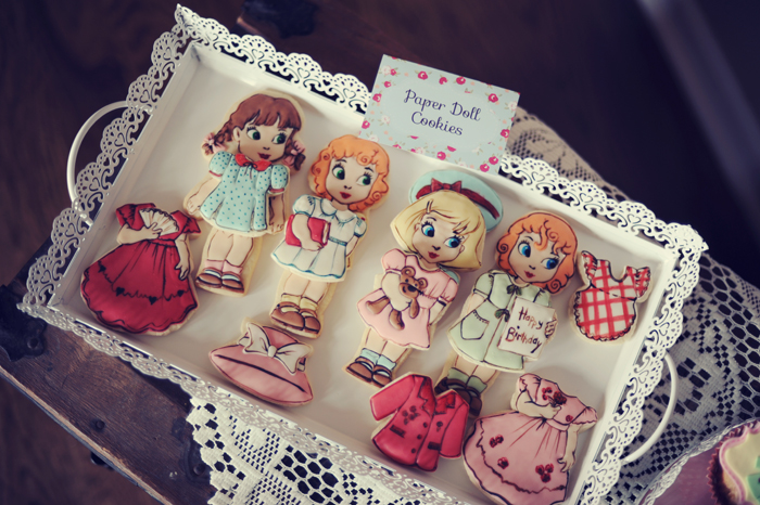 Paper Doll inspired Dessert Table for Kids Paper Doll Cookies