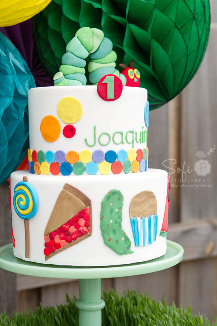 Very Hungry Caterpillar Inspired Dessert Table Cake