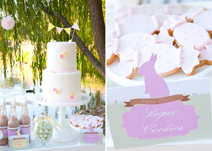 Pretty Cake and Sugar Cookies for Easter Dessert Table