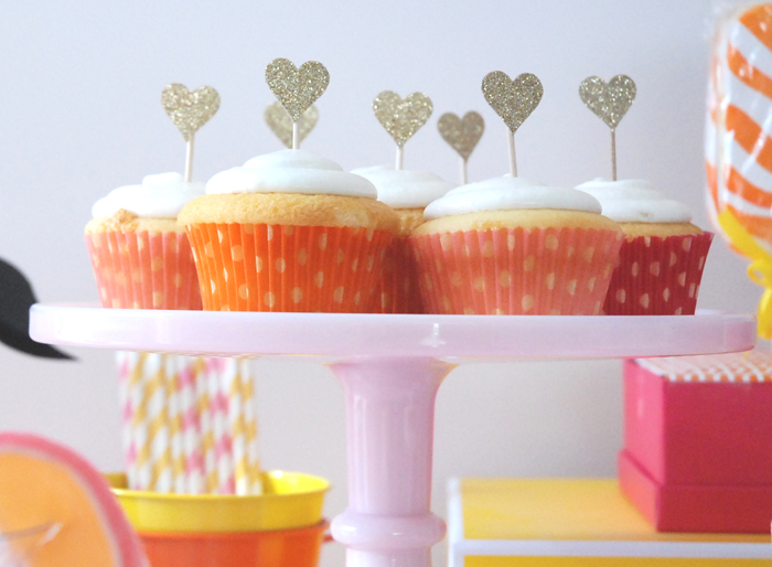 Cupcakes with heart shaped toppers