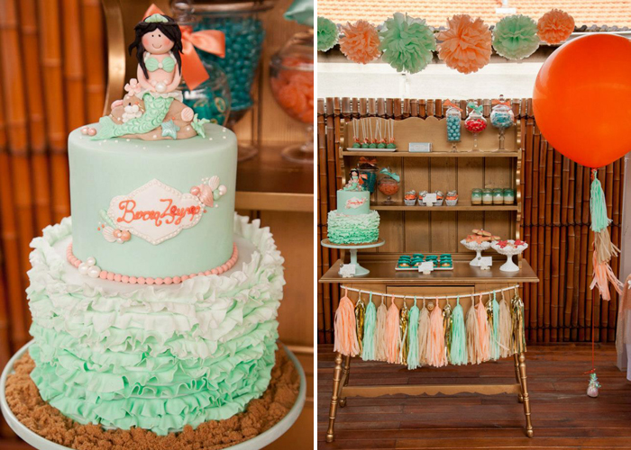 Mermaid Ruffled Ombre Green Cake