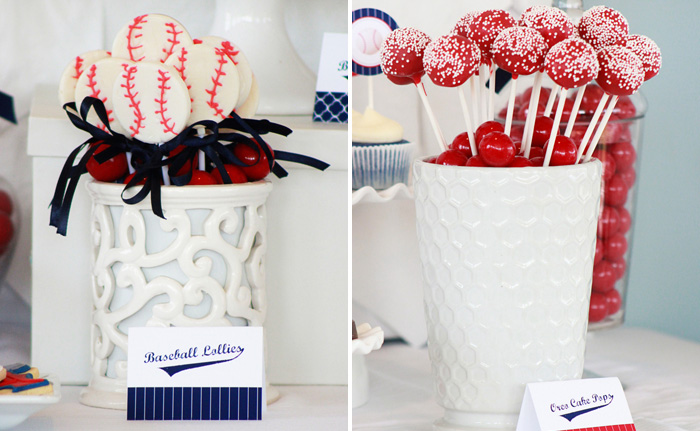 Baseball Party Team Colors Oreo Cake Pops and Baseball Pops