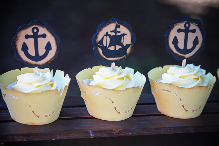 Pirate Party for Kids | anchor cupcake toppers