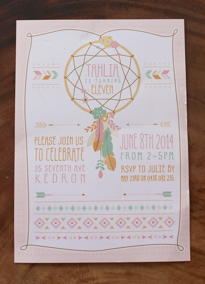Dream Catcher Invite