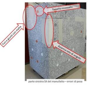 Immagine dell'angolo tra la parte frontale e la parte sinistra SX del manufatto con sistema di posa del cappotto corretto nella parte bassa (tassello con o senza rondelle) e con errori di posa nella parte alta