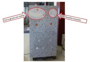 Immagine della parte desta DX del manufatto con sistema di posa del cappotto corretto nella parte bassa (tasselli con e senza rondelle) e con errori di posa nella parte alta