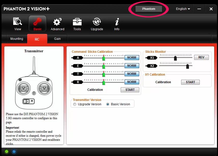 Configurare lo switch S2 Phantom 2 Visoin PLUS