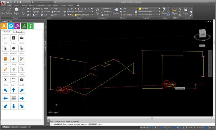 Unisci i due rilievi DXF con Analist 2016 CLOUD indicando 3 punti in comune