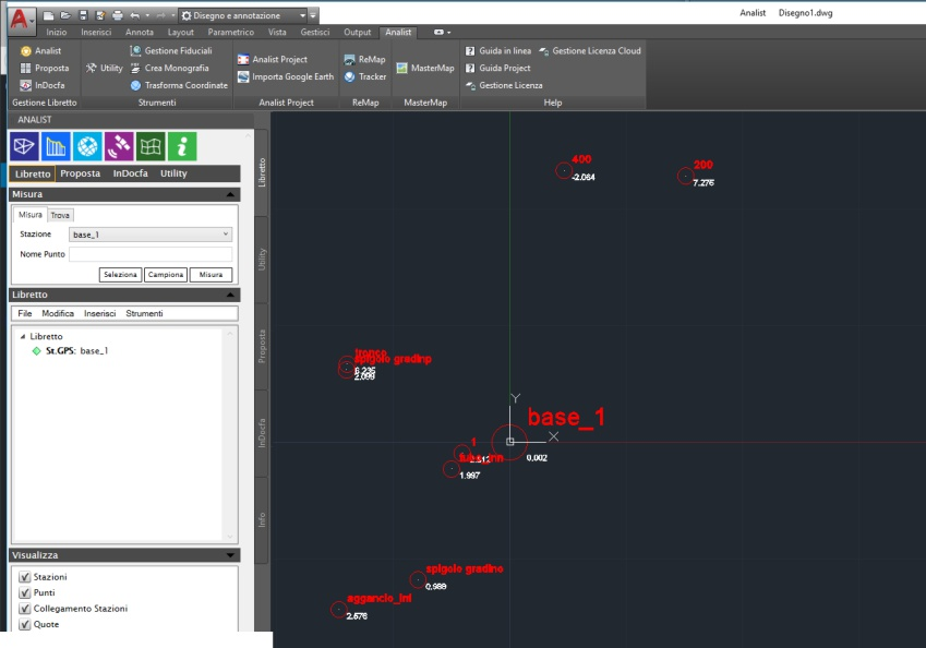 rilevo chc i80 importato in analist cloud software di topografia basato su tecnologia Autodesk