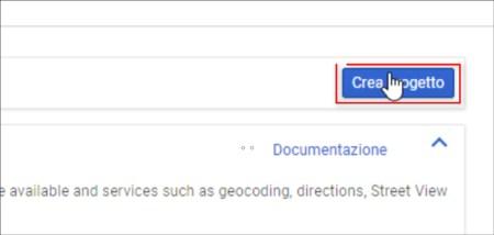 Google Key nuovo progetto