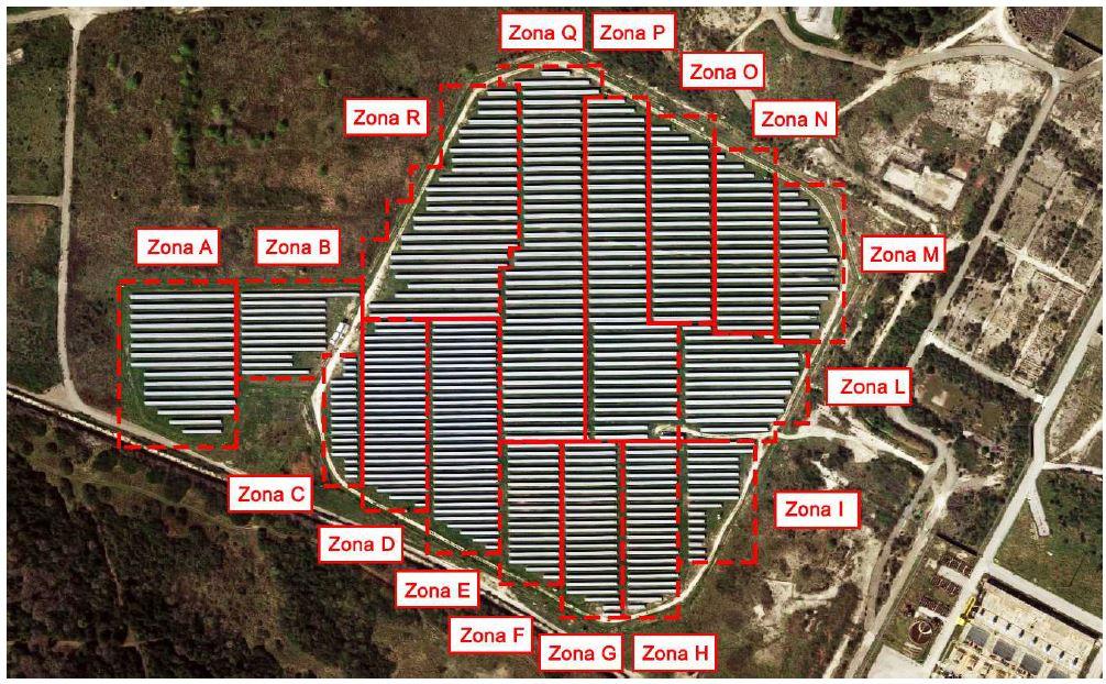 impianto Montalto suddiviso in zone