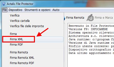 File protector menù File - firma xml