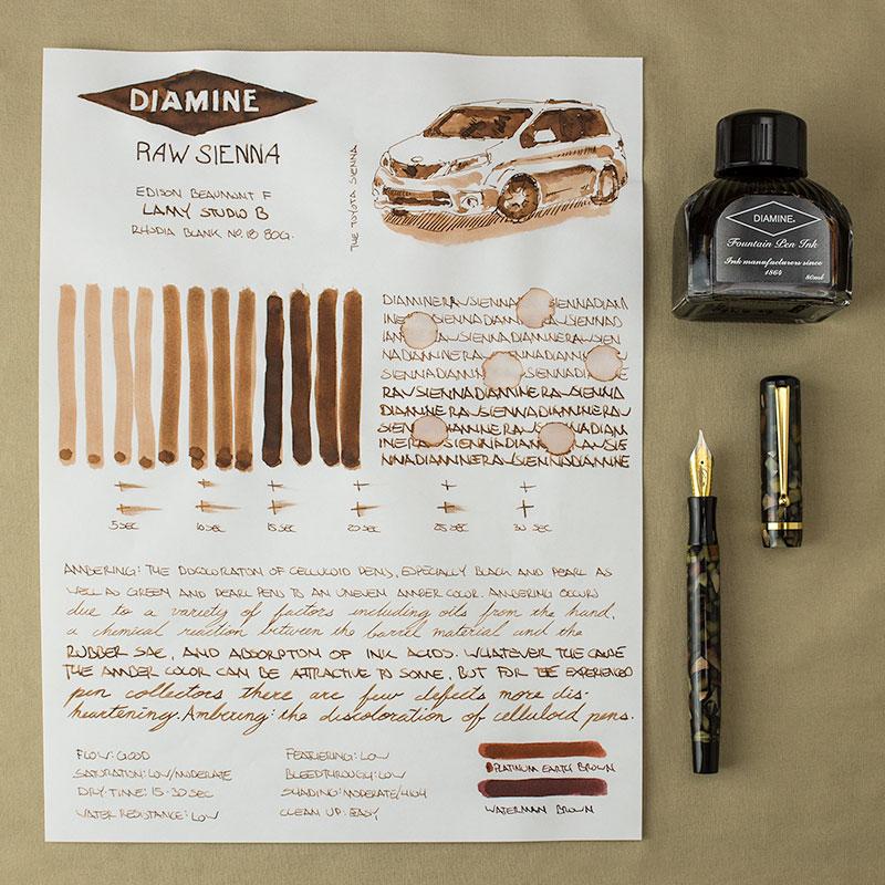 Diamine Raw Sienna. Best brown fountain pen inks