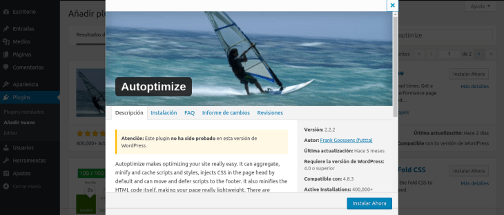 Optimizar WordPress con Autoptimize