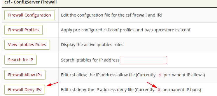 IPs bloqueadas en CSF WHM