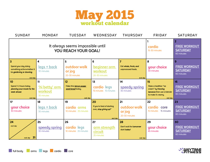 May 2015 Workout Calendar