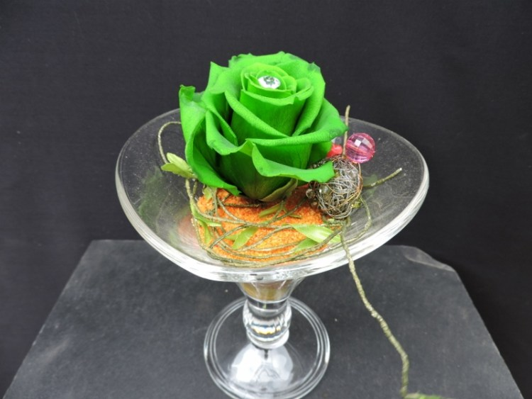 Rosa en copa de Cristal