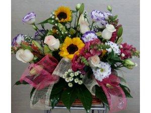 Cesta de Flores Multicolor