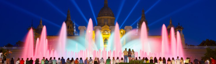 Light show of the Magic Fountain of Montjuic